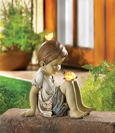 Solar Garden Statue-Boy and Turtle