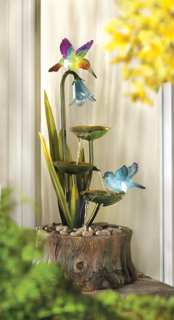 Enchanting Fountain-Hummingbirds