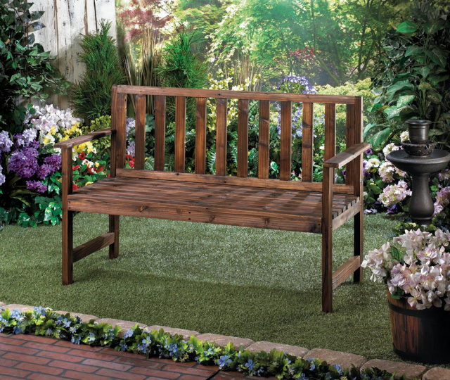 Beautiful wood bench for Garden decor accents