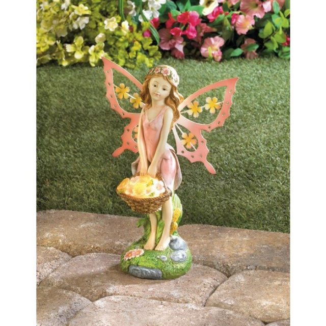 Whimsical fairy garden solar statue for Whimsical garden statues