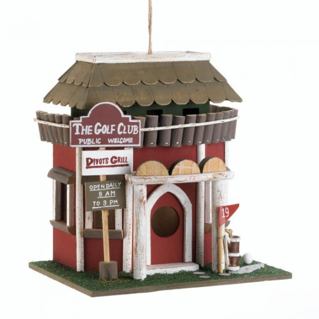Golf course clubhouse birdhouse for Garden decor accents