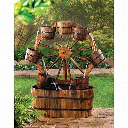 Rustic wood fountain for Garden decor accents