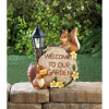 Solar Welcome Squirrels Garden Accent