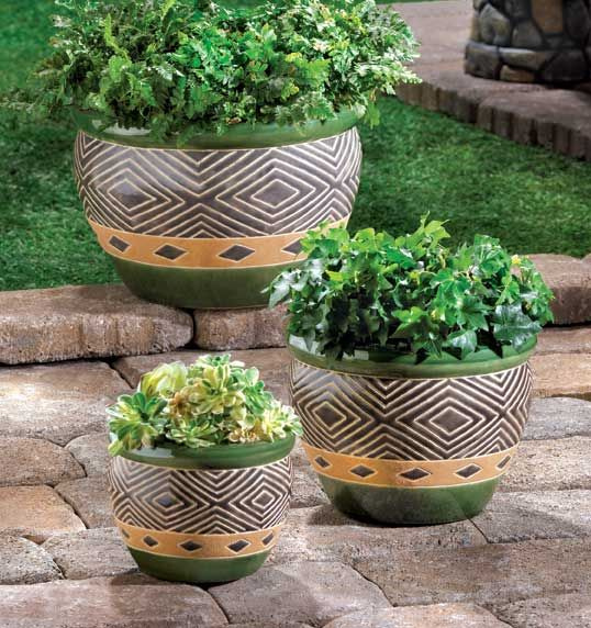 Beautiful Planters; Green-Set of 3