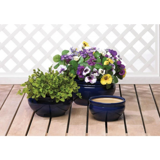 Beautiful Blue Planter Trio