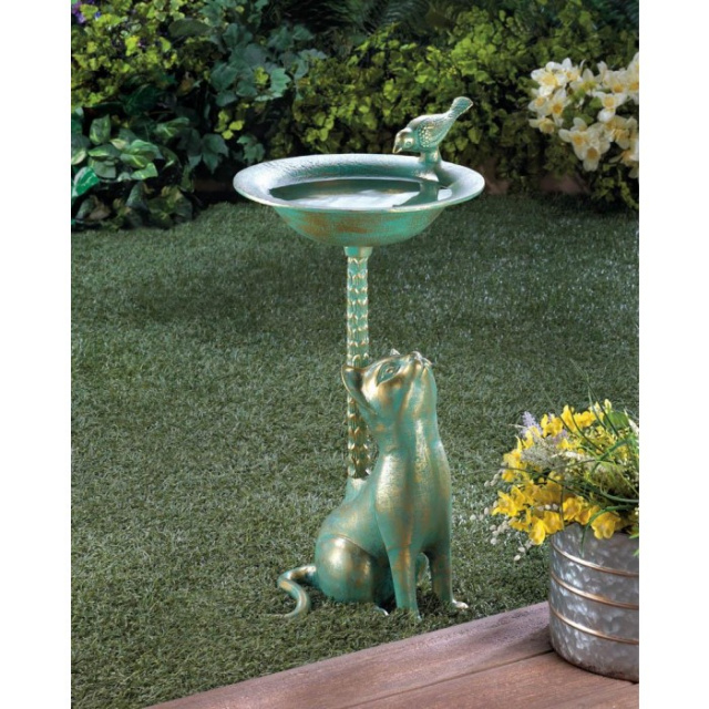 Whimsical Cat Bird Bath