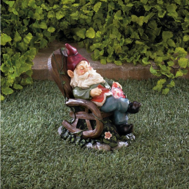 Solar Garden Gnome Rocking Chair Accent