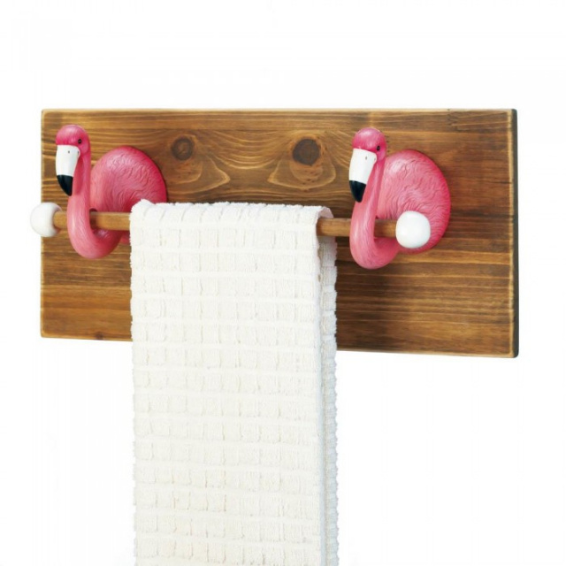 Whimsical Flamingo Towel Holder
