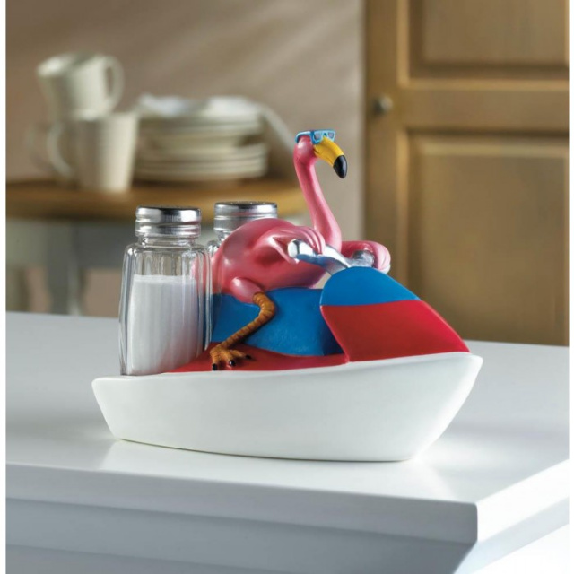 Novelty Flamingo Jet Skiing Salt and Pepper Set