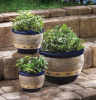 Beautiful Planters; Blue-Set of 3